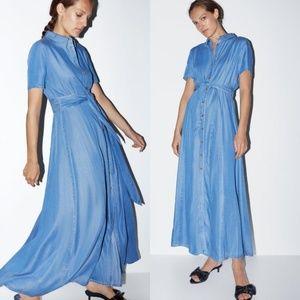 Zara Chambray Tencel Belted Maxi Dress